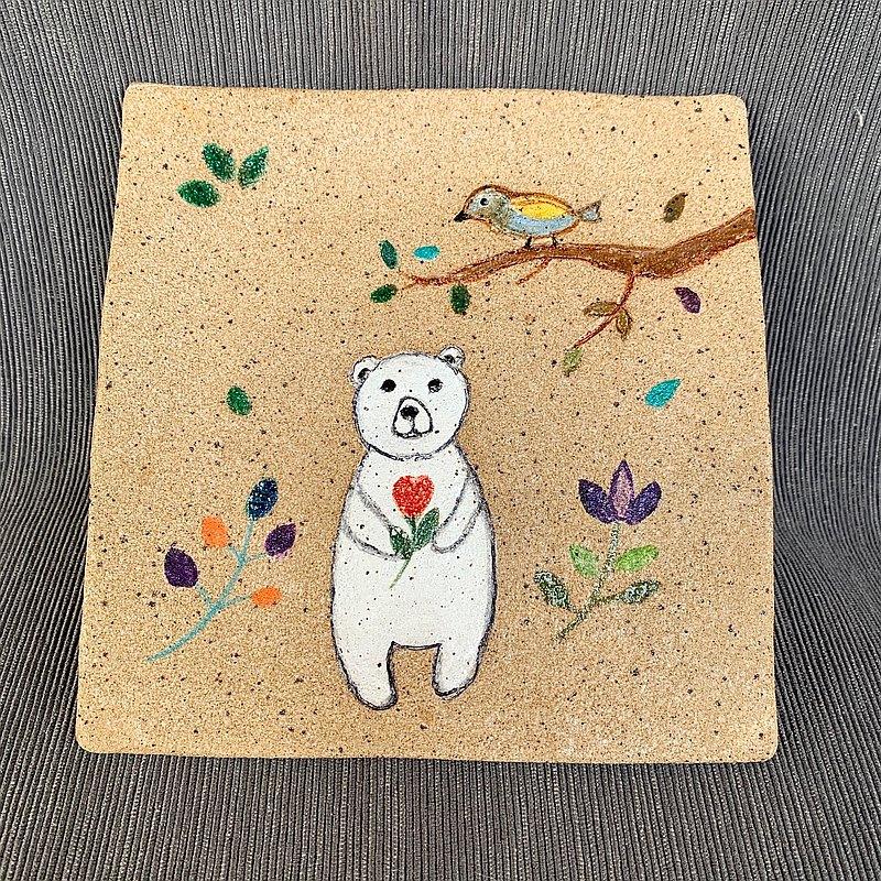 A Lu - 北極熊平陶盤 /手做手繪/美國進口陶土 (僅此一件)