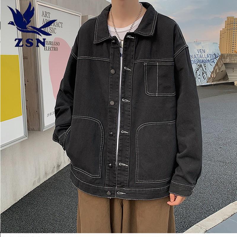 牛仔外套 日系潮男翻領黑色牛仔夾克外套 明線機車工裝上衣 韓版潮流翻領夾克衫 港風單寧外套 素色簡約大口袋防風外套