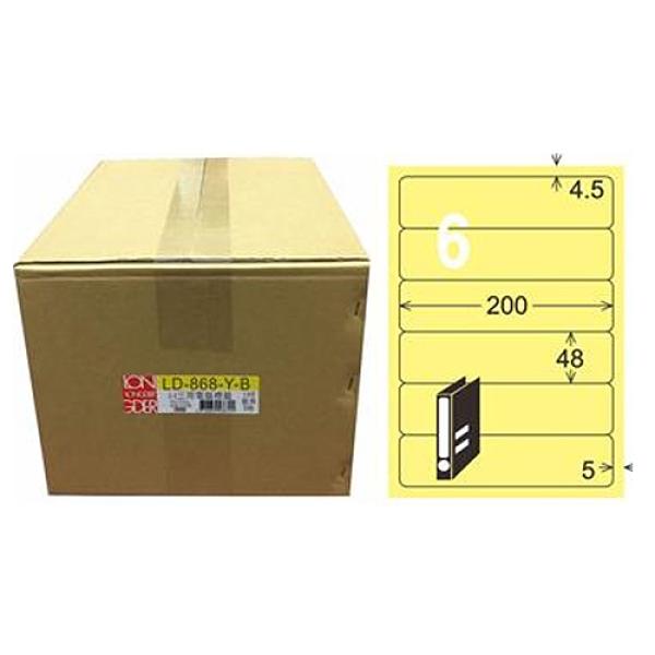 【龍德】A4三用電腦標籤 48x200mm 淺黃色1000入 / 箱 LD-868-Y-B