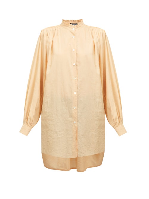 Ann Demeulemeester - Oversized Frilled Neck Cotton-blend Shirt - Womens - Orange