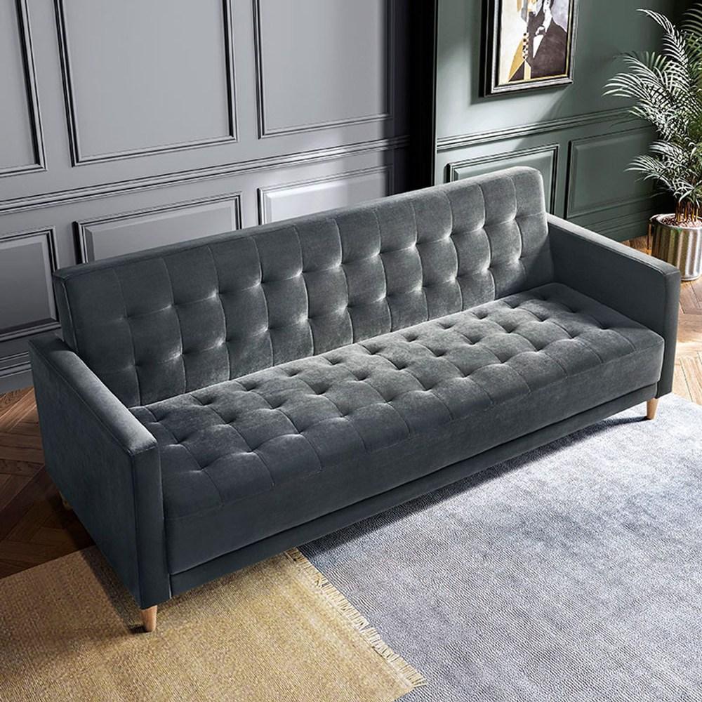 美式典雅拉扣沙發床 LS050-中灰色