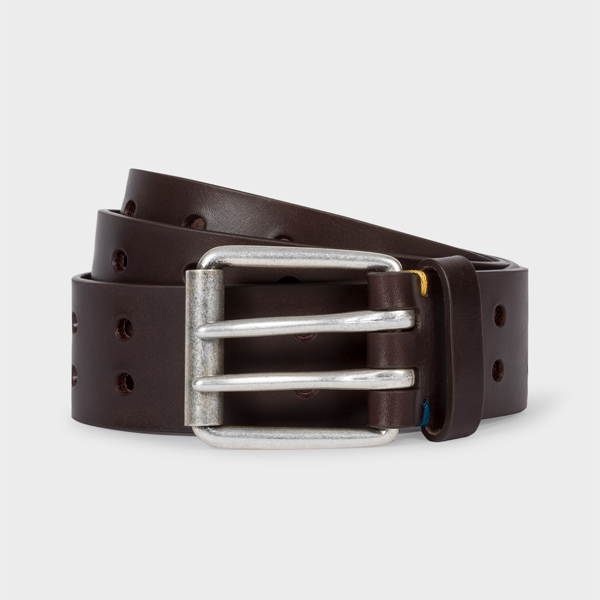 Men's Brown Leather Double-Prong Belt