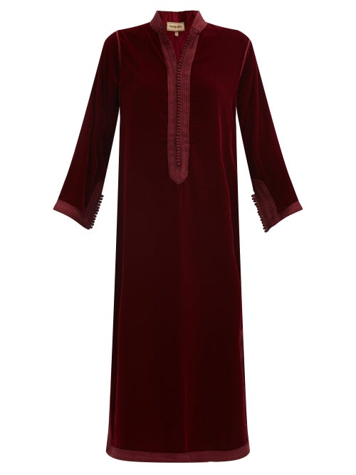 Muzungu Sisters - Alia Woven-trim Velvet Tunic Dress - Womens - Burgundy