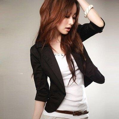 小西服女士外套韓版修身大碼七分袖百搭小西裝短款半袖工作服 小山好物