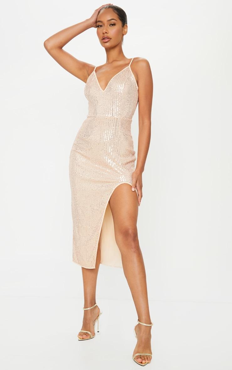Rose Gold Sequin Split Midi Dress
