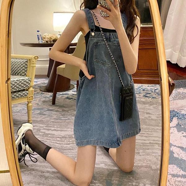 復古無袖方領洋裝女夏季新款高腰法式牛仔短裙子氣質顯瘦背帶裙 【ifashion·全店免運】