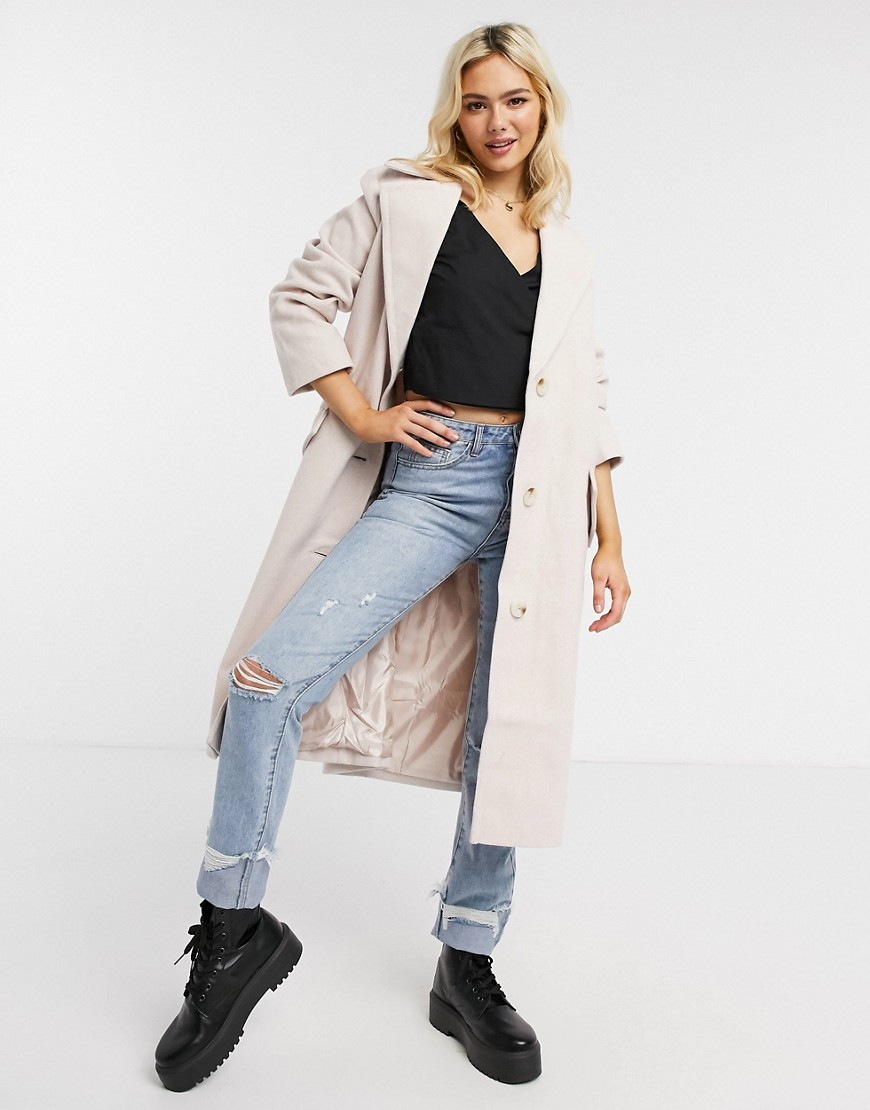ASOS DESIGN button through oversized coat in pink