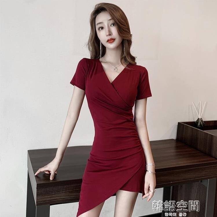 連身裙 不規則設計感性感洋裝夏季新款裙子女2020流行修身顯瘦包臀短裙
