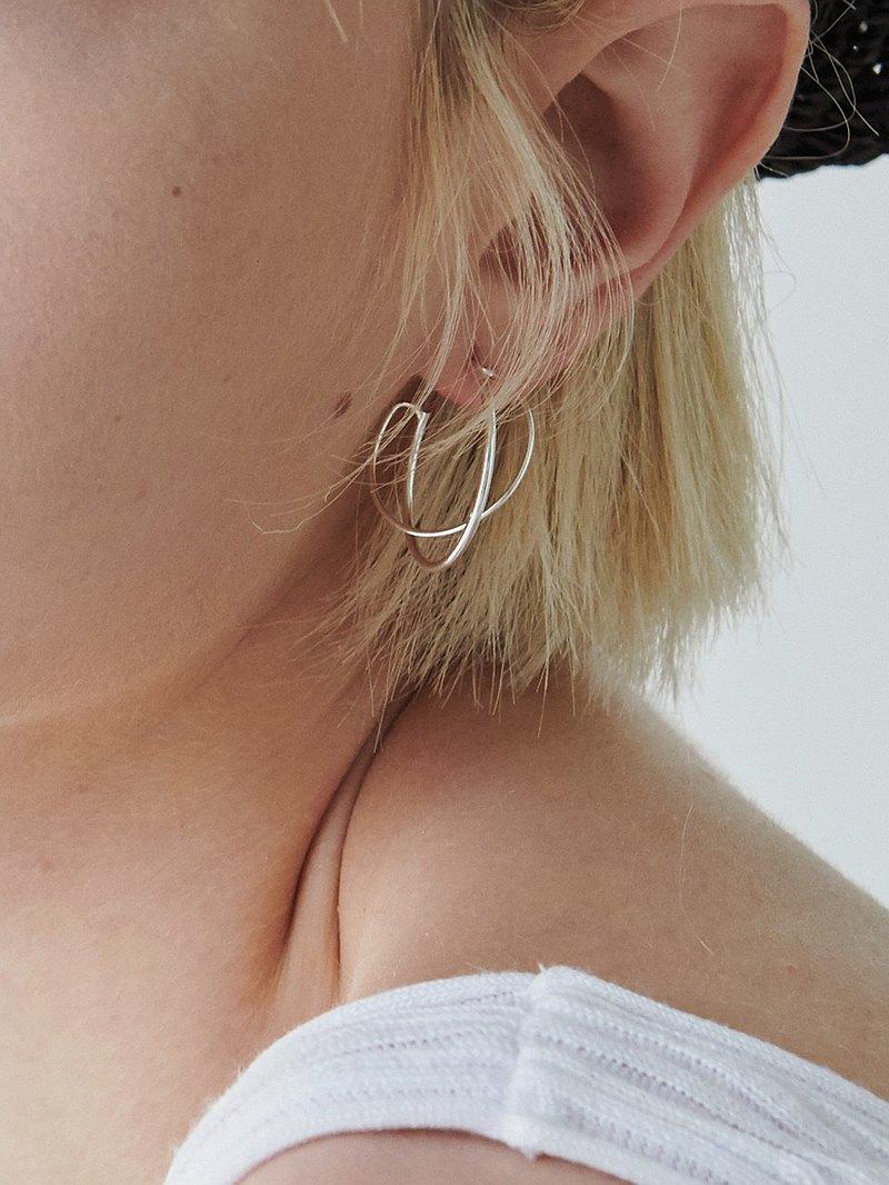 純銀耳環 平衡課題 - direction - 純銀 耳環 925 silver