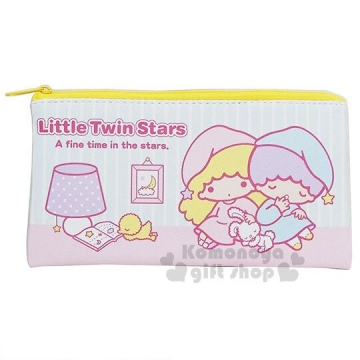 〔小禮堂〕雙子星 皮質扁平拉鍊筆袋《粉藍.收納包.化妝包.鉛筆盒》