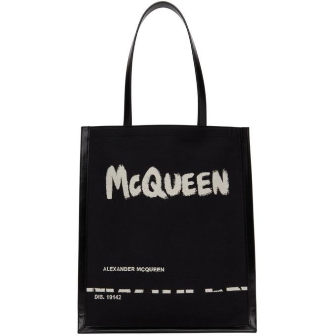 Alexander McQueen 黑色 Graffiti Logo 托特包