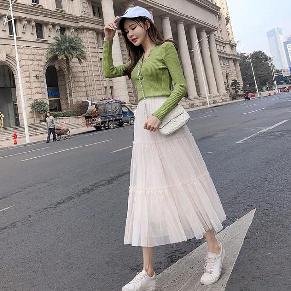 網紗半身裙 2020春季新款超仙女裙子網紗裙a字秋半身裙長裙中長款百褶蛋糕裙