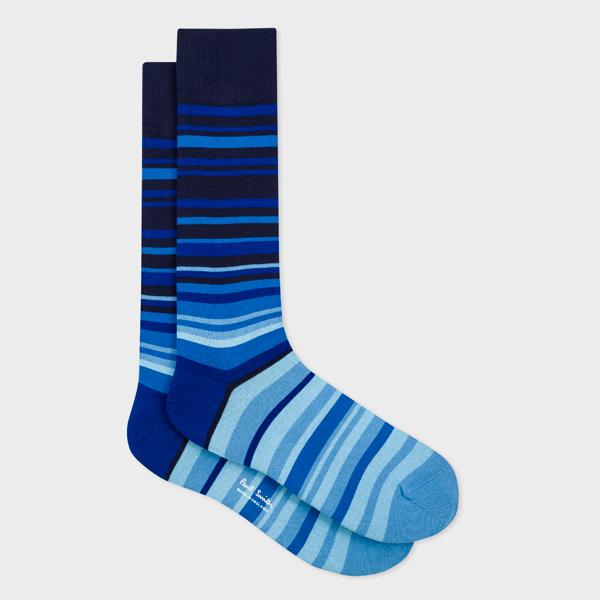 Men's Blue Tonal Stripe Socks