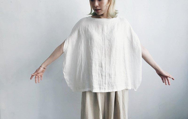 圓 | 圓形輪廓上衣 - 亞麻布料
