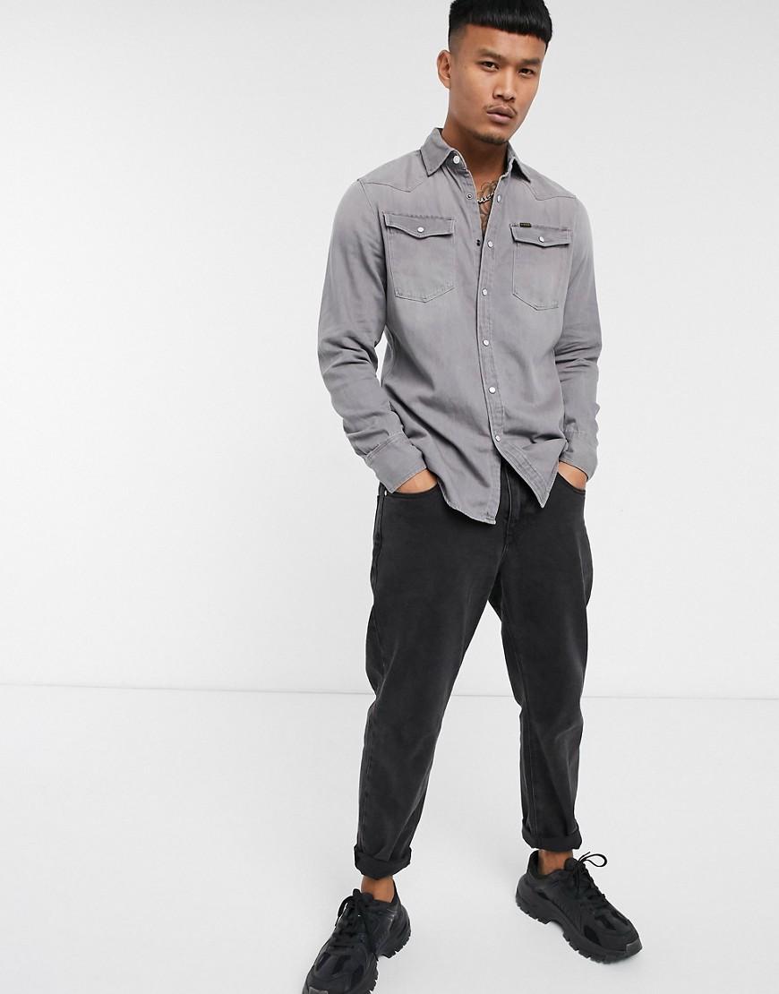 G-Star 3301 denim slim shirt in dust grey