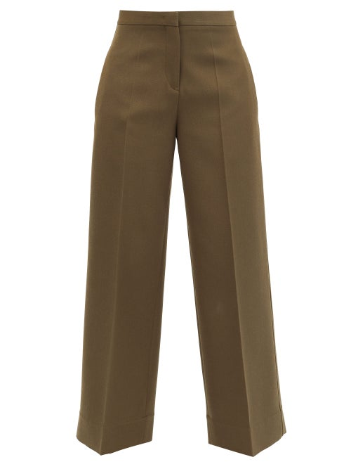 Jil Sander - Pleated Wool Wide-leg Trousers - Womens - Green
