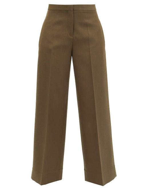 Jil Sander - Pleated Wool Wide-leg Trousers - Womens - Green