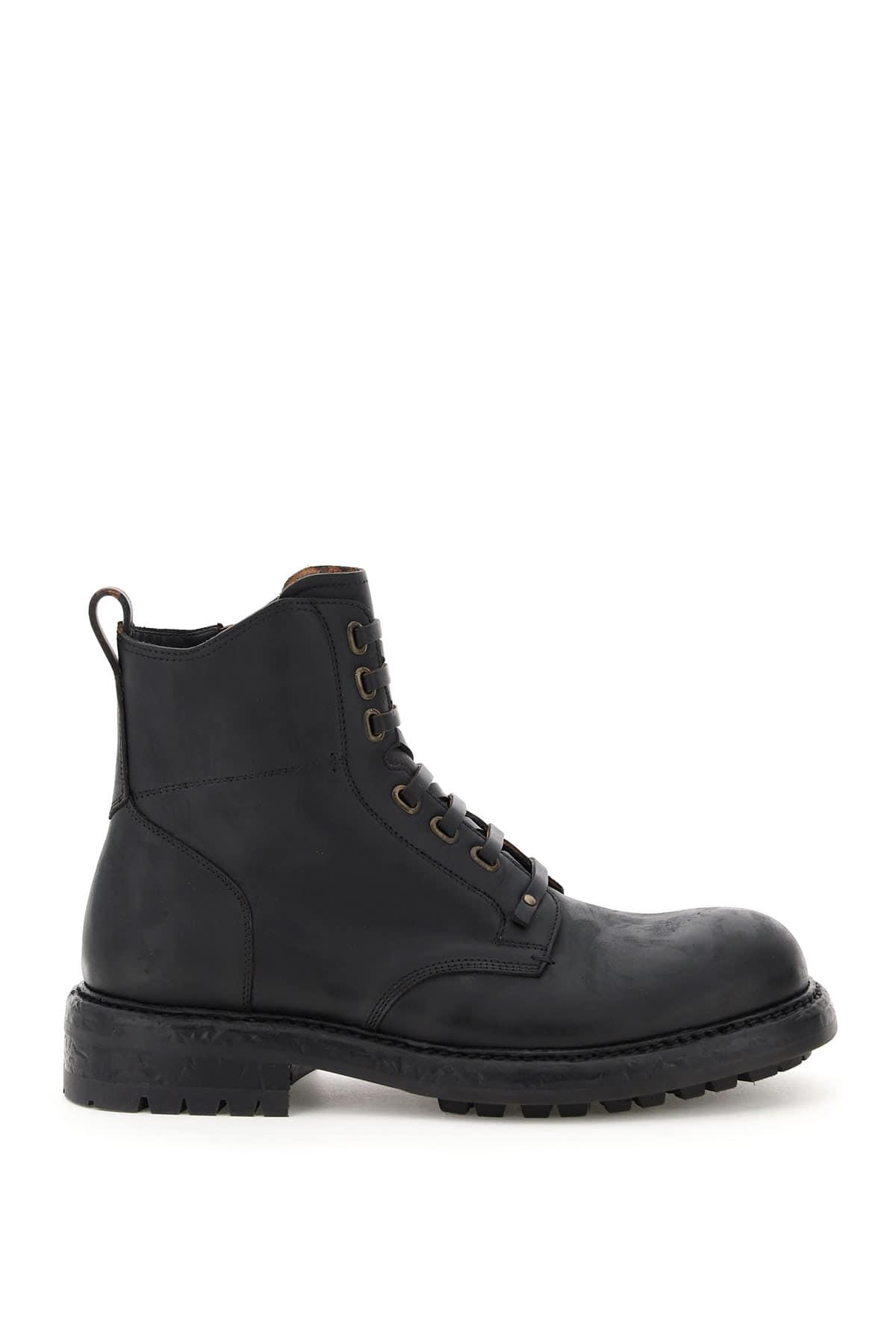 DOLCE & GABBANA BERNINI LACE-UP BOOTS 42 Black Leather