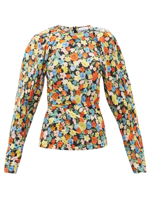 Ganni - Crystal-button Puff-sleeve Floral-print Blouse - Womens - Multi