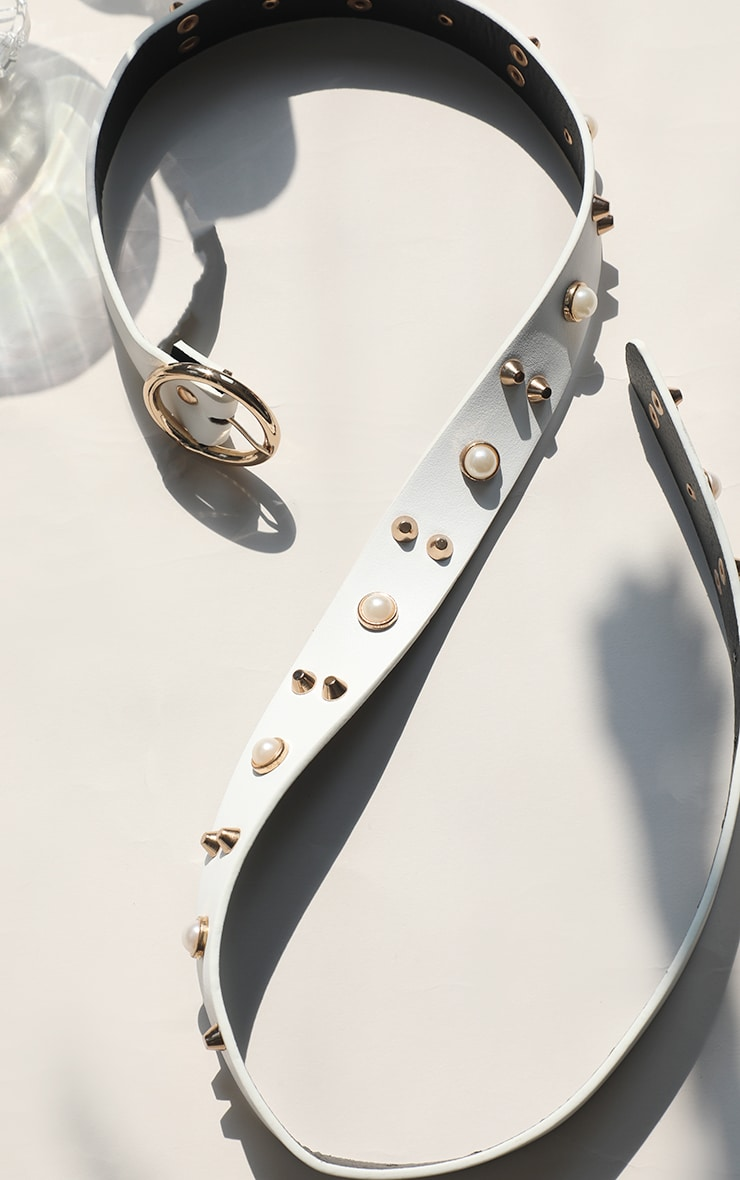 White Studded Pearl Waist Belt