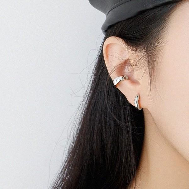 Slow life韓國冷淡風簡約不規則波浪紋個性耳扣S925純銀ins小眾氣質耳環銀耳飾