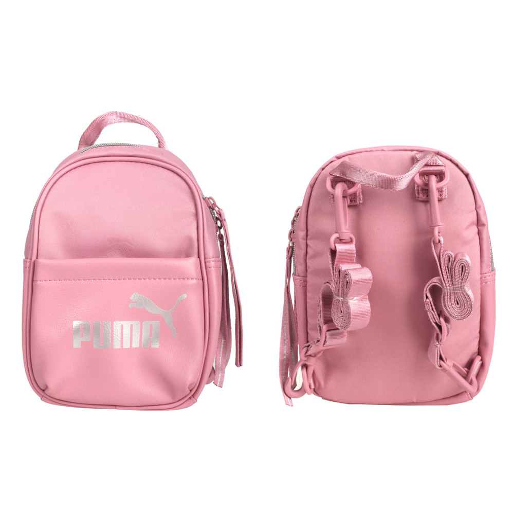 puma 小型後背包-雙肩包 肩背包 側背包 粉紅銀