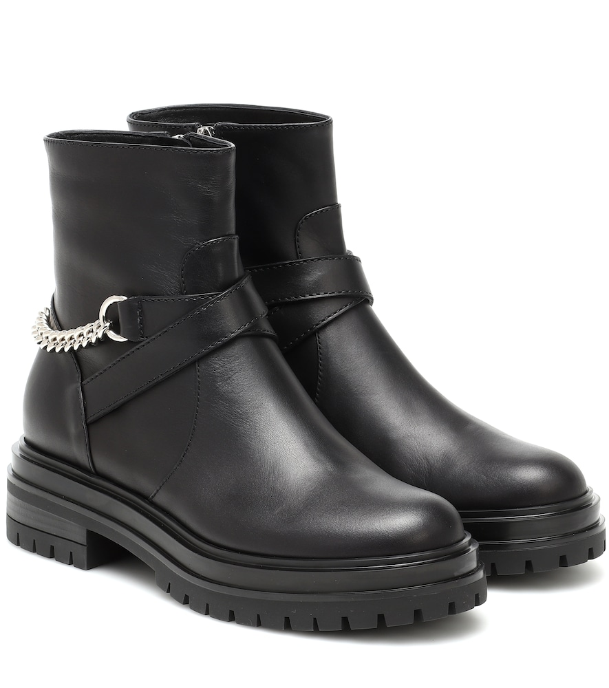 Chain leather ankle boots
