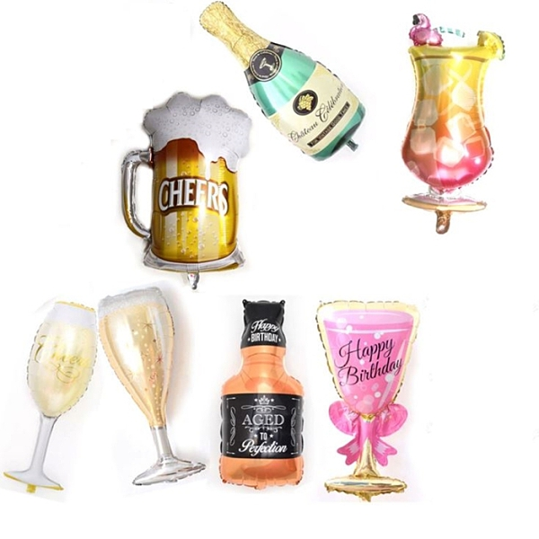 香檳 酒瓶 酒杯 啤酒 威士忌 雞尾酒 鋁膜氣球 生日氣球 求婚 生日 公司慶祝 派對小物
