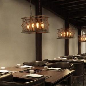 【H&R安室家】53x29x30cm小號長方鐵網吊燈