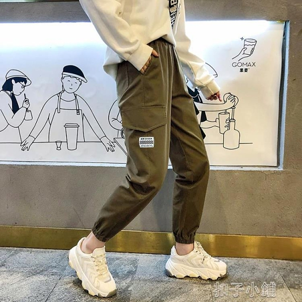 工裝褲超火工裝褲女褲薄款高腰顯瘦黑色九分休閒運動寬鬆束腳哈倫褲