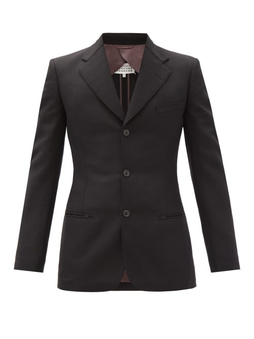 Maison Margiela - Tack-stitched Single-breasted Wool-blend Suit - Mens - Black