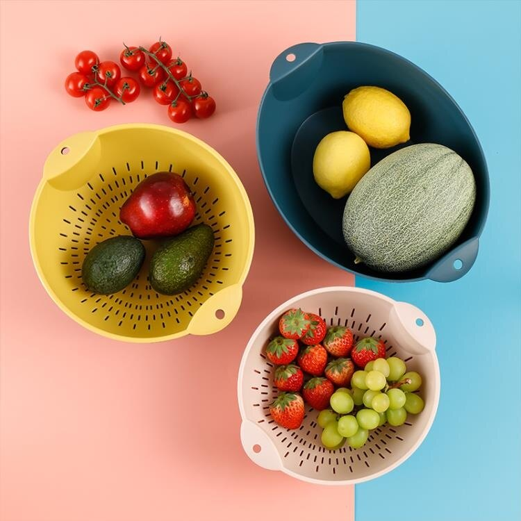瀝水盆 網紅水果盤籃客廳塑料雙層洗菜籃子家用廚房洗菜盆瀝水籃筐神器  聖誕節禮物