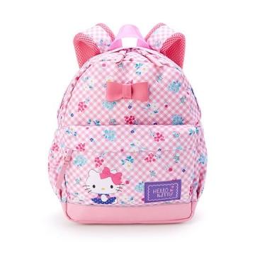 〔小禮堂〕Hello Kitty 兒童帆布雙層拉鍊後背包《粉藍.格紋花朵》書包.