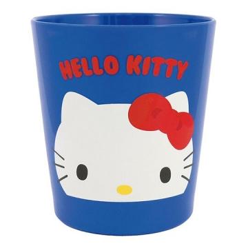 〔小禮堂〕Hello Kitty 無把塑膠小水杯《藍.大臉》300ml.茶杯.漱口杯