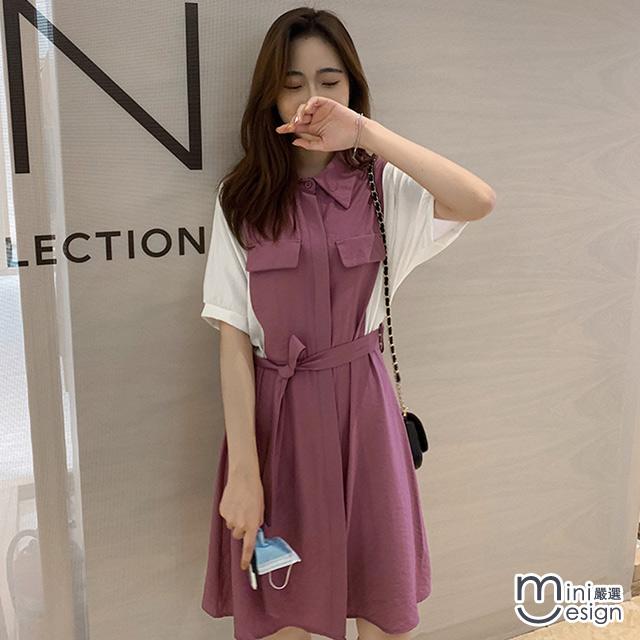 Mini嚴選-輕熟工業風配色襯衫連身裙 二色