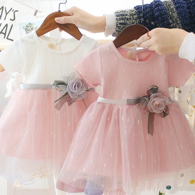 嬰幼兒浪漫玫瑰花氣質洋裝 短袖洋裝 女童洋裝 寶寶洋裝 連身裙 連衣裙 小童洋裝【蘋果小舖】(RE)2004 A7