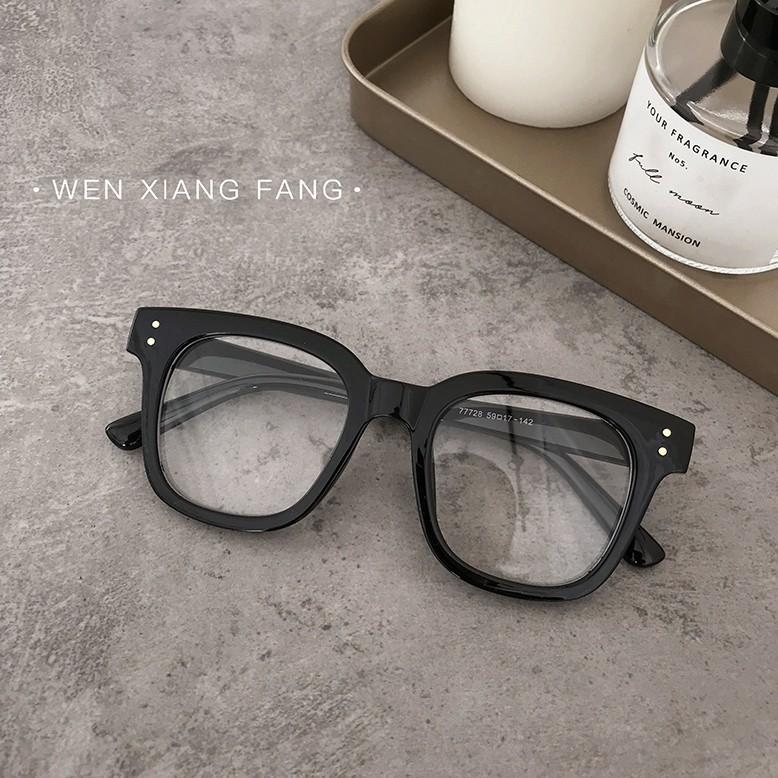 韓版復古網紅款方形黑色粗框平光鏡女顯瘦素顏懶人凹造型眼鏡框架 -