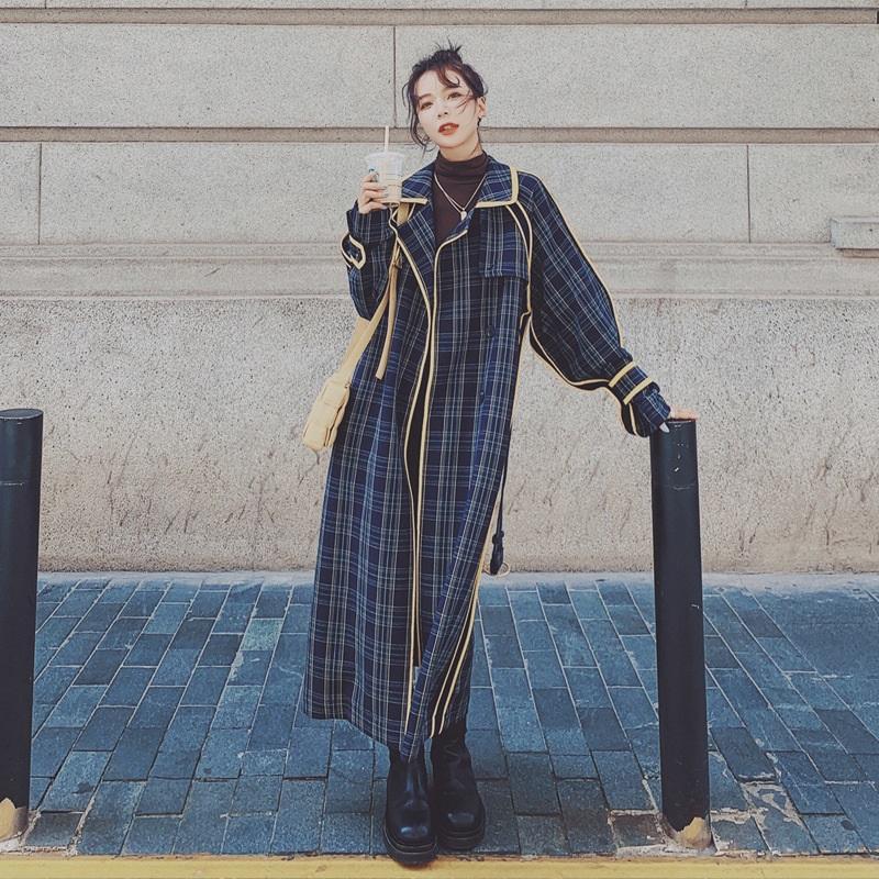 風衣外套長版大衣-格子薄款包邊復古女外套73yx10【獨家進口】【米蘭精品】