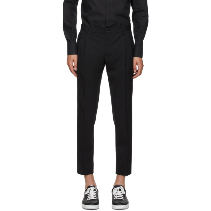 Dolce and Gabbana 黑色直筒长裤