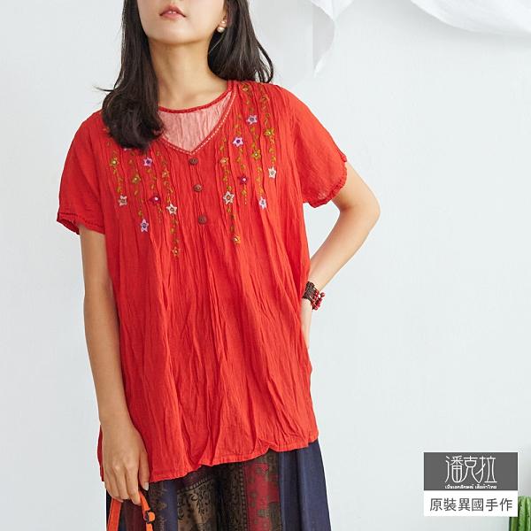 【潘克拉】假兩件手工花朵刺繡捲皺純棉小衫 TM587 FREE紅色