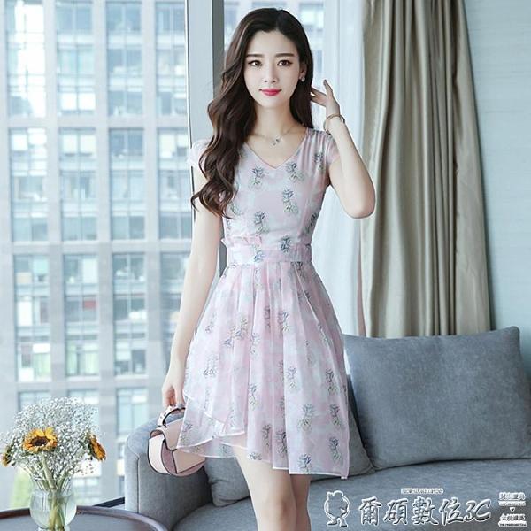 碎花洋裝 貴夫人碎花雪紡連身裙2021年流行新款小個子仙女超仙森系氣質中裙 爾碩 交換禮物