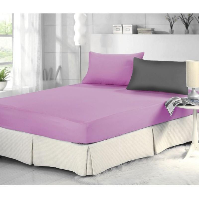 專利表布吸濕排汗~加大一件式床包 /紫