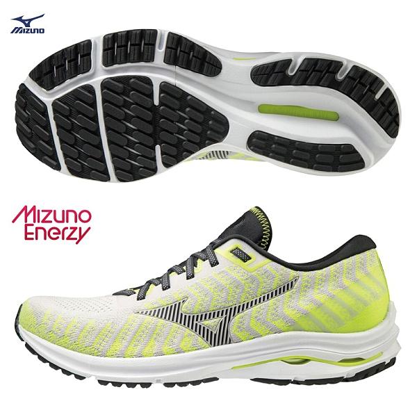 MIZUNO WAVE RIDER 24 WAVEKNIT 男鞋 慢跑 避震 U4ic ENERZY 螢光黃 白【運動世界】J1GC207516