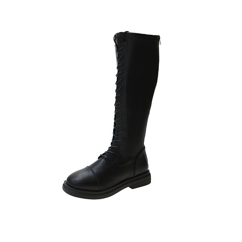 馬丁靴 馬丁靴女英倫風系帶帥氣機車長靴網紅不過膝靴新款高筒長筒騎士靴