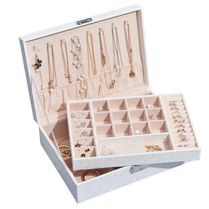 珠寶盒 雙層大容量飾品收納盒手飾盒耳釘耳環戒指項錬創意首飾盒