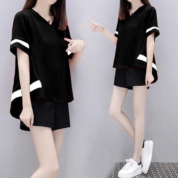 運動套裝 夏季新款大碼女裝寬鬆休閒運動套裝女學生韓版短褲短袖兩件套衣服 裝飾界