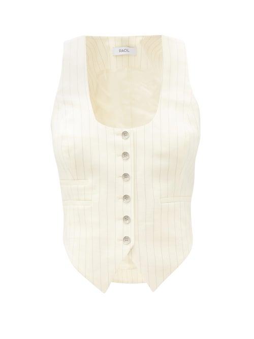 Racil - Nadia Pinstriped Wool-blend Waistcoat - Womens - Ivory