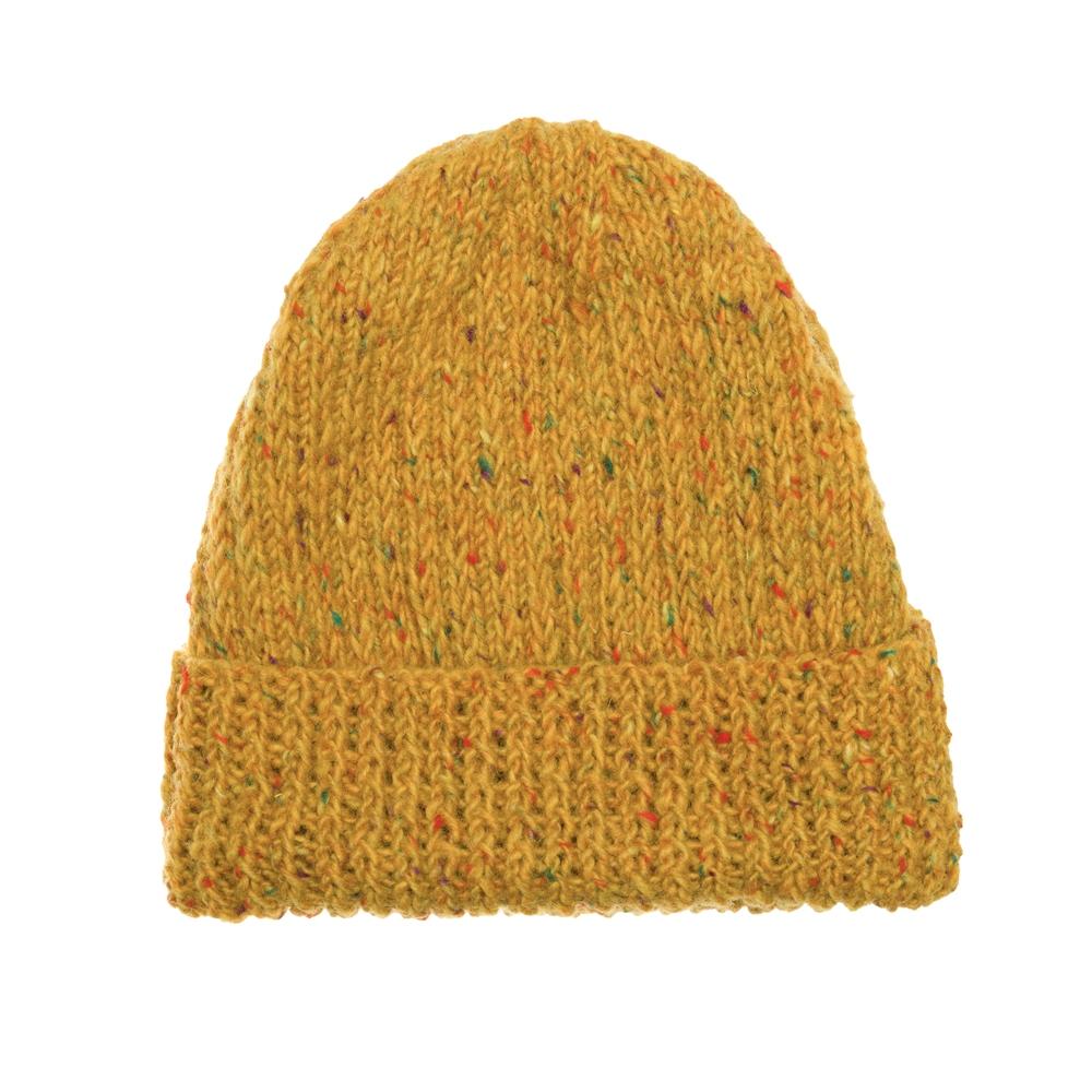 Magee 1866 Mustard Yellow Donegal fleck Handknit Beanie Hat