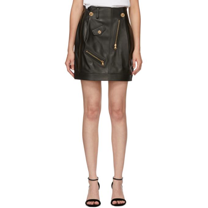 Versace 黑色皮革短裙