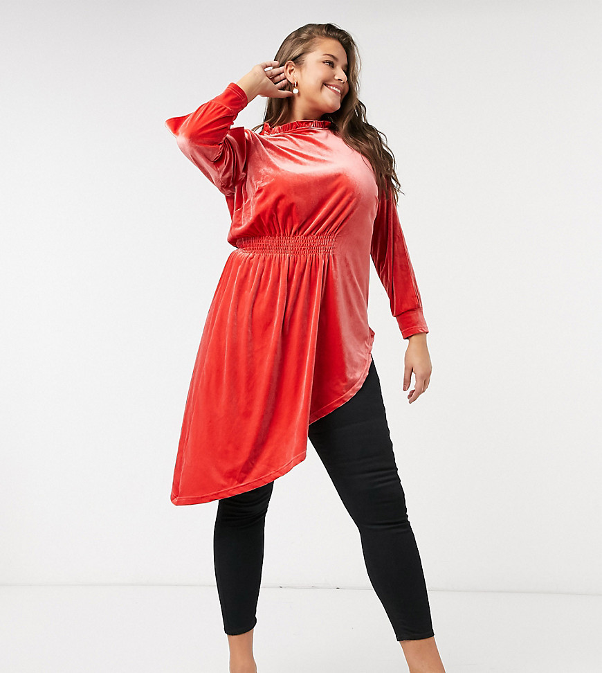 Simply Be velvet drape top in orange